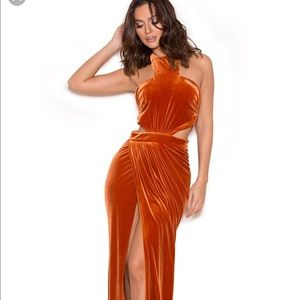 House of CB Perlita dress in brunt orange NWT